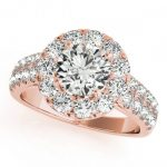 1.75 ctw Certified VS/SI Diamond Halo Ring 18K Rose Gold