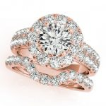 2.06 ctw Certified VS/SI Diamond 2pc Wedding Set Halo 14K