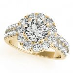 1.75 ctw Certified VS/SI Diamond Halo Ring 18K Yellow