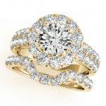 2.3 ctw Certified VS/SI Diamond 2pc Wedding Set Halo 14K