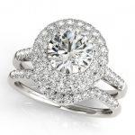 1.52 ctw Certified VS/SI Diamond 2pc Wedding Set Halo 14K