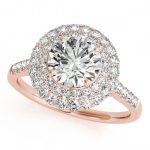 1.5 ctw Certified VS/SI Diamond Halo Ring 14K Rose