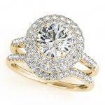 1.77 ctw Certified VS/SI Diamond 2pc Wedding Set Halo 14K