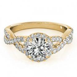 1.54 ctw Certified VS/SI Diamond Halo Ring 18K Yellow