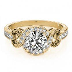 1.33 ctw Certified VS/SI Diamond Halo Ring 18K Yellow