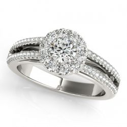 0.75 ctw Certified VS/SI Diamond Solitaire Halo Ring 14K