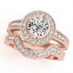1.3 ctw Certified VS/SI Diamond 2pc Wedding Set Halo 14K