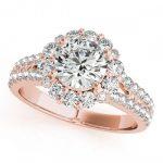 1.76 ctw Certified VS/SI Diamond Halo Ring 18K Rose Gold
