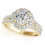 1.76 ctw Certified VS/SI Diamond Halo Ring 18K Yellow