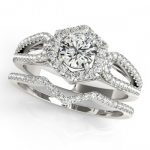 1.35 ctw Certified VS/SI Diamond 2pc Wedding Set Halo 14K