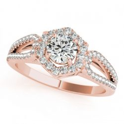 0.9 ctw Certified VS/SI Diamond Halo Ring 18K Rose Gold
