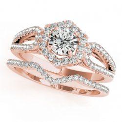 1.35 ctw Certified VS/SI Diamond 2pc Wedding Set Halo 14K