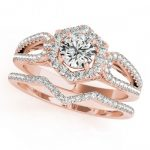 1.07 ctw Certified VS/SI Diamond 2pc Wedding Set Halo 14K