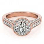 1.5 ctw Certified VS/SI Diamond Halo Ring 14K Rose