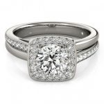 0.85 ctw Certified VS/SI Diamond Halo Ring 14K White