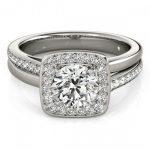 0.85 ctw Certified VS/SI Diamond Halo Ring 18K White