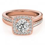 0.85 ctw Certified VS/SI Diamond Halo Ring 18K Rose Gold