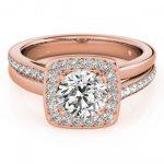 1.33 ctw Certified VS/SI Diamond Halo Ring 18K Rose Gold