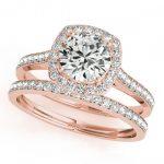 1.67 ctw Certified VS/SI Diamond 2pc Wedding Set Halo 14K