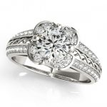 0.85 ctw Certified VS/SI Diamond Halo Ring 18K White