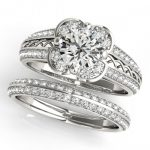 1.86 ctw Certified VS/SI Diamond 2pc Wedding Set Halo 14K
