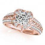 1.5 ctw Certified VS/SI Diamond Halo Ring 18K Rose Gold