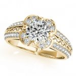 0.85 ctw Certified VS/SI Diamond Halo Ring 18K Yellow