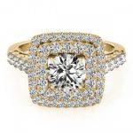 1.8 ctw Certified VS/SI Diamond Halo Ring 18K Yellow