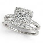 1.21 ctw Certified VS/SI Princess Diamond 2pc Set Halo 14K