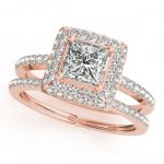 1.76 ctw Certified VS/SI Princess Diamond 2pc Set Halo 14K