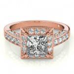2.1 ctw Certified VS/SI Princess Diamond Halo Ring 14K