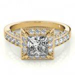 1.5 ctw Certified VS/SI Princess Diamond Halo Ring 14K