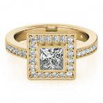 1.11 ctw Certified VS/SI Princess Diamond Halo Ring 14K