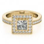 1.11 ctw Certified VS/SI Princess Diamond Halo Ring 18K