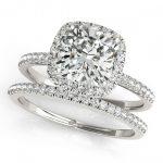 1.51 ctw Certified VS/SI Cushion Diamond 2pc Set Halo 14K