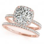 0.93 ctw Certified VS/SI Cushion Diamond 2pc Set Halo 14K