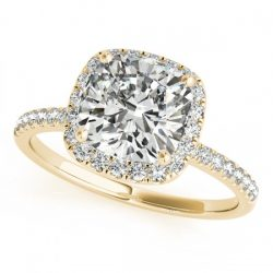 0.75 ctw Certified VS/SI Cushion Diamond Halo Ring 14K