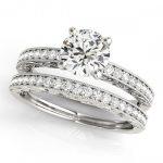 0.7 ctw Certified VS/SI Diamond 2pc Wedding Set Antique 14K