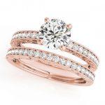 1.38 ctw Certified VS/SI Diamond 2pc Wedding Set Antique