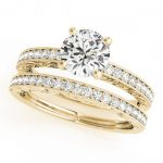 1.38 ctw Certified VS/SI Diamond 2pc Wedding Set Antique