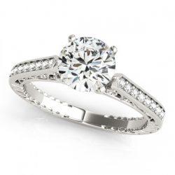 0.65 ctw Certified VS/SI Diamond Antique Ring 14K White