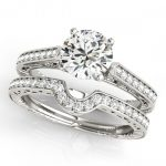 0.67 ctw Certified VS/SI Diamond 2pc Wedding Set Antique