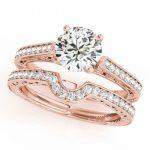 0.57 ctw Certified VS/SI Diamond 2pc Wedding Set Antique