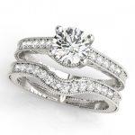 1.24 ctw Certified VS/SI Diamond 2pc Wedding Set Antique