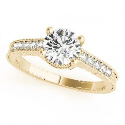 0.70 ctw Certified VS/SI Diamond Antique Ring 14K Yellow