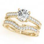 0.88 ctw Certified VS/SI Diamond 2pc Wedding Set Antique