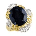 8.07 ctw Blue Sapphire & Diamond Ring 10K Yellow