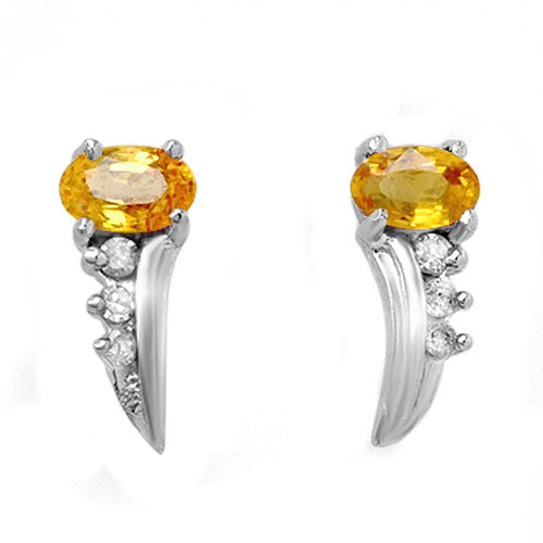 0.80 ctw Yellow Sapphire & Diamond Earrings 18K White