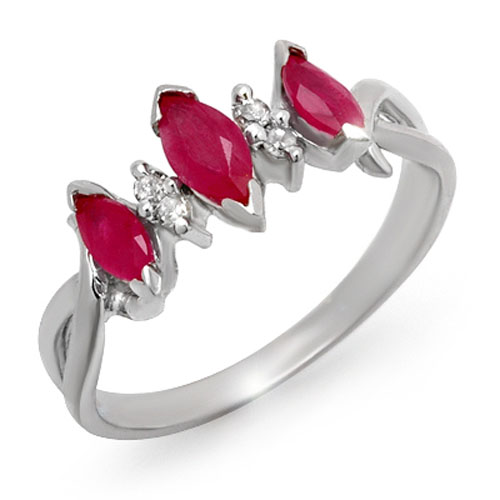 0.57 ctw Ruby & Diamond Ring 10K White
