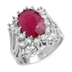 4.62 ctw Ruby & Diamond Ring 18K White